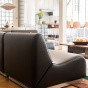 Rotondo Fireside chair in Black Leather