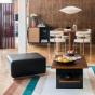 Rotondo Footstool in Black Leather