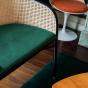 Banquette Cavallo noire velours vert sapin