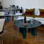 Table basse Carlotta pieds laques vert et marbre vert