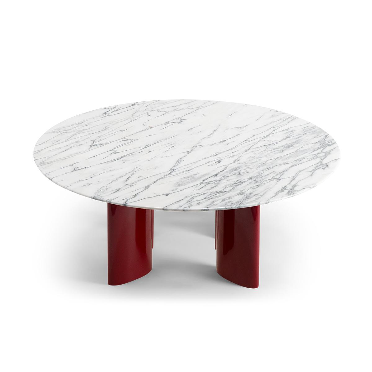 Table basse Carlotta pieds laques rouge et marbre blanc