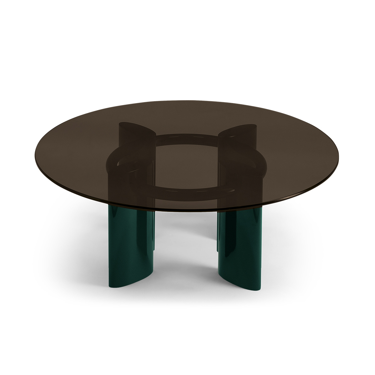 Table basse Carlotta pieds laques vert et verre