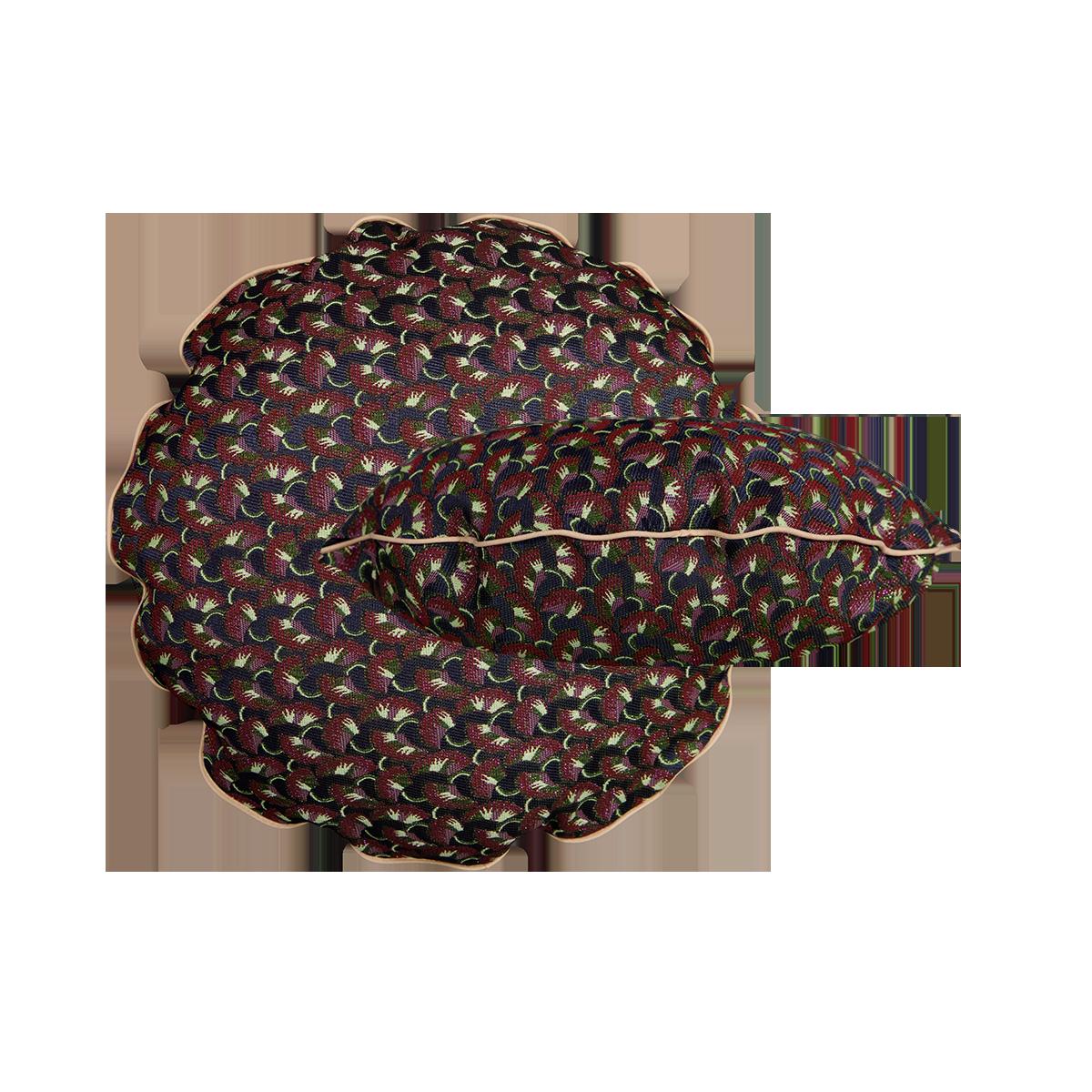 Coussin Bomboloni motif précieux bordeaux