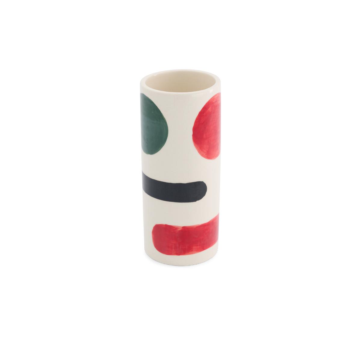 Pot Domino moyen modèle motif noir, rouge et vert
