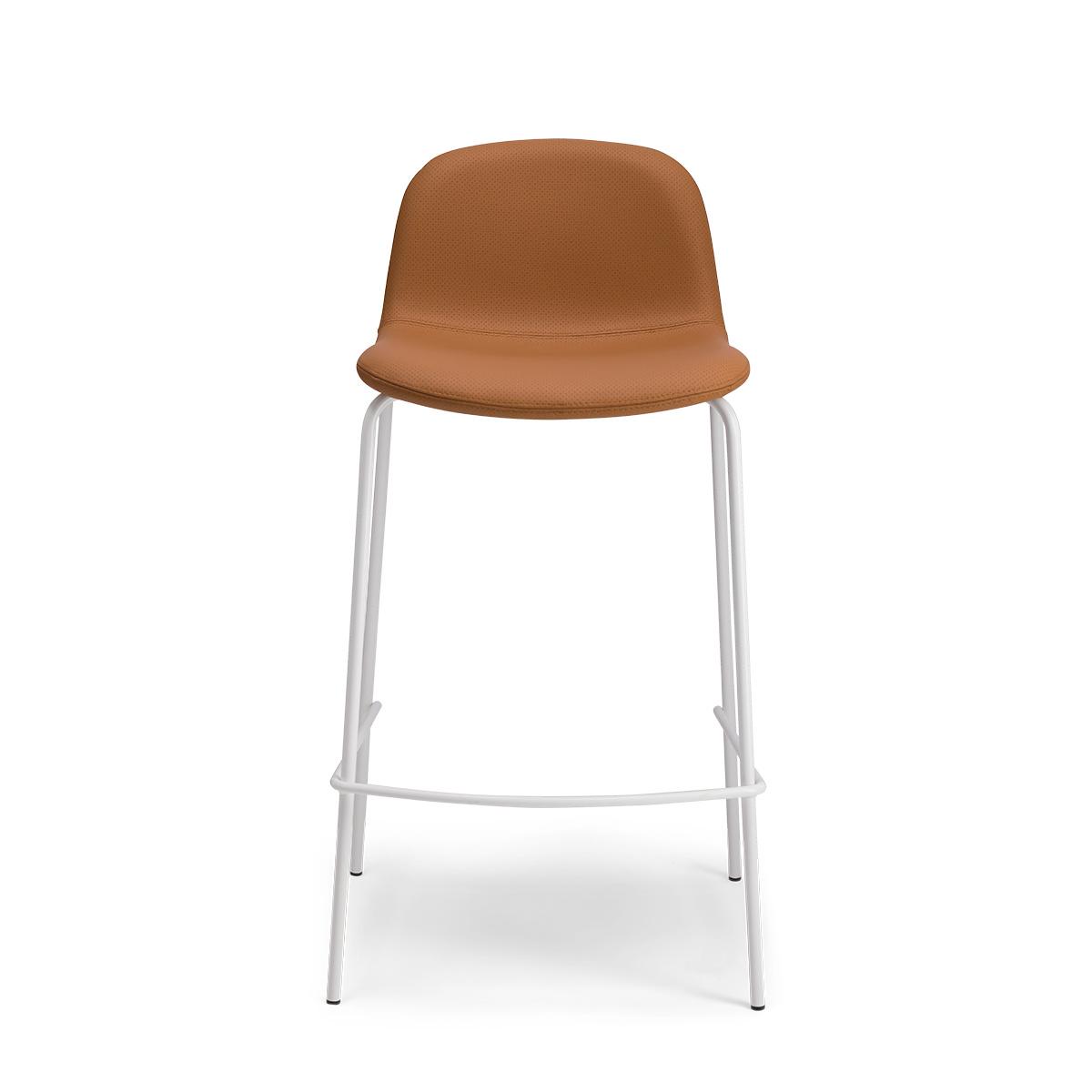 Chaise de bar Monza pieds blancs cuir perforé caramel