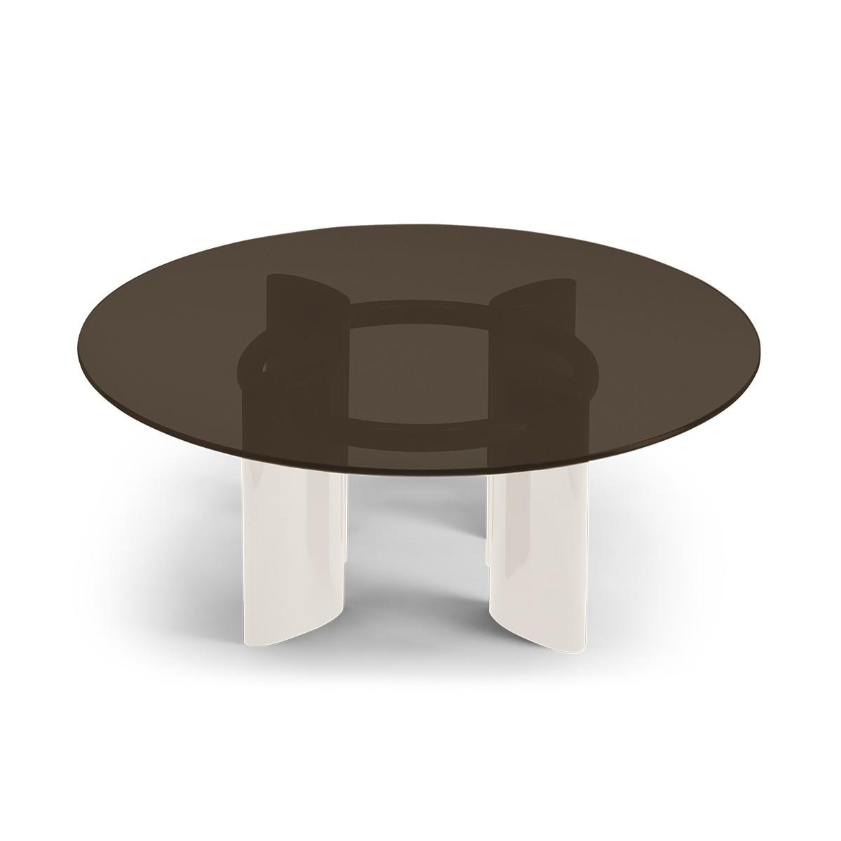 Table basse Carlotta pieds laqués blanc crème et verre