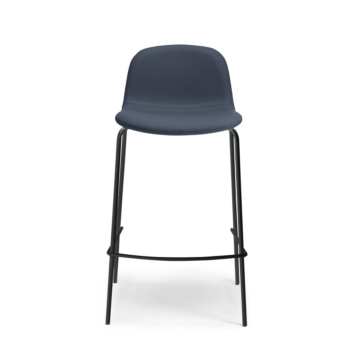 Chaise de bar Monza pieds noirs cuir perforé bleu marine