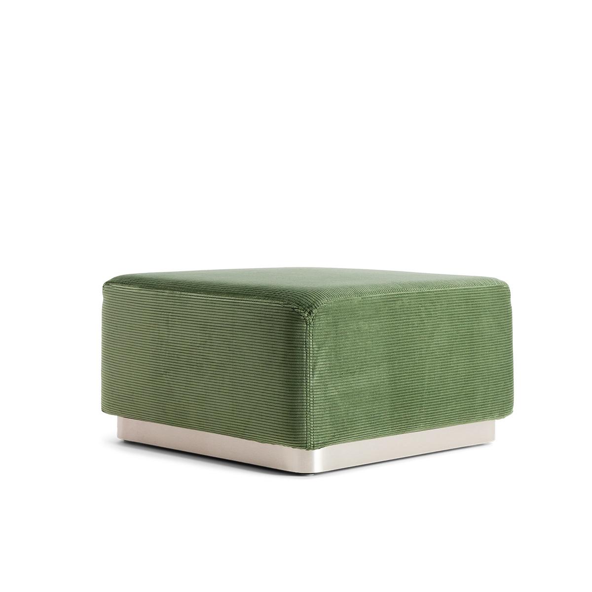 Pouf Rotondo velours côtelé vert amande