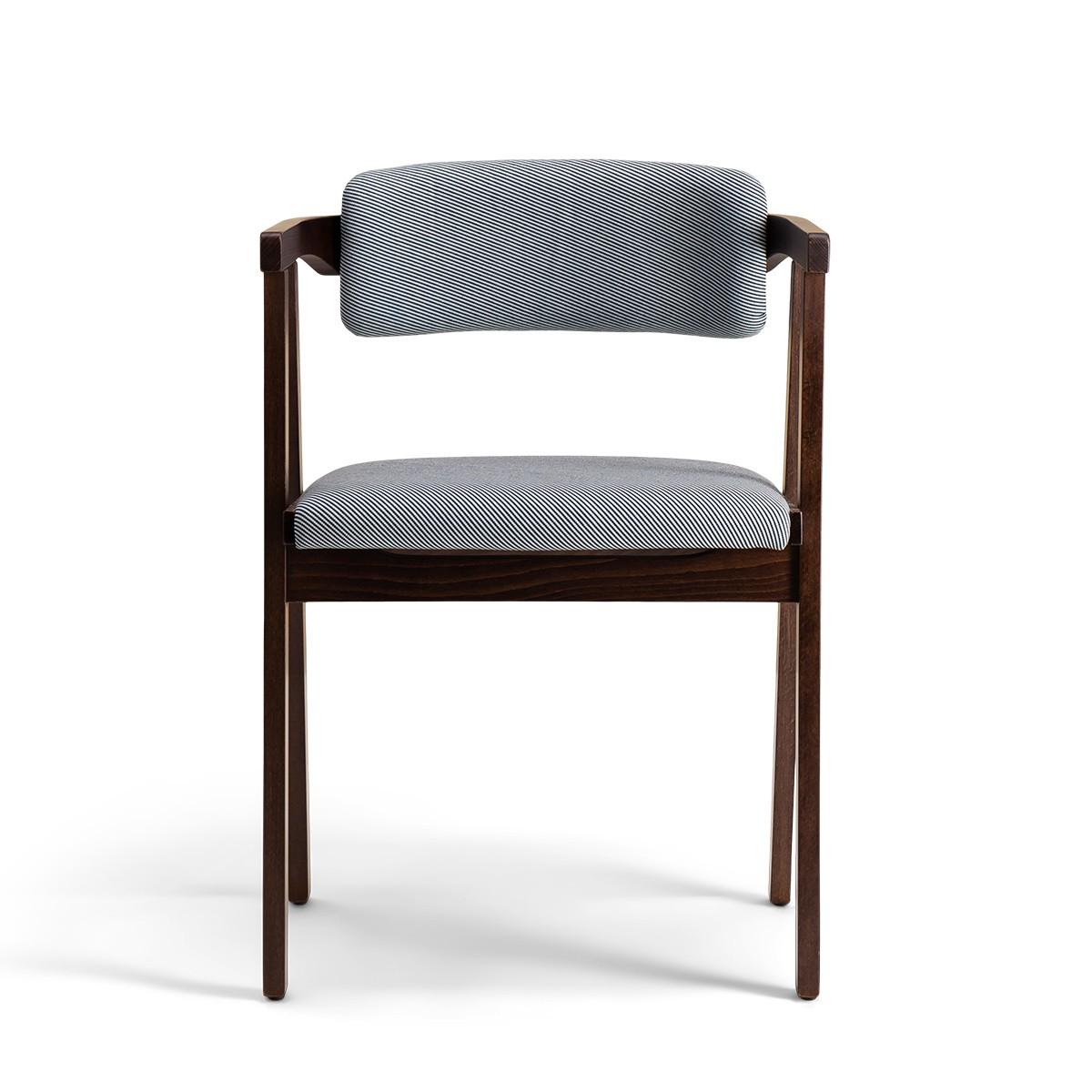 Chaise Milano bois brun coton rayé bleu et blanc