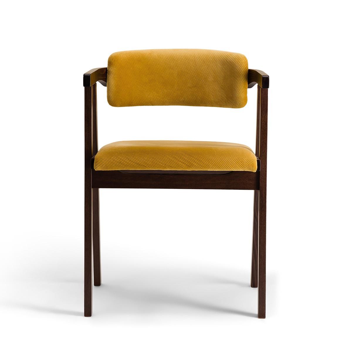 Chaise Milano bois brun velours côtelé moutarde