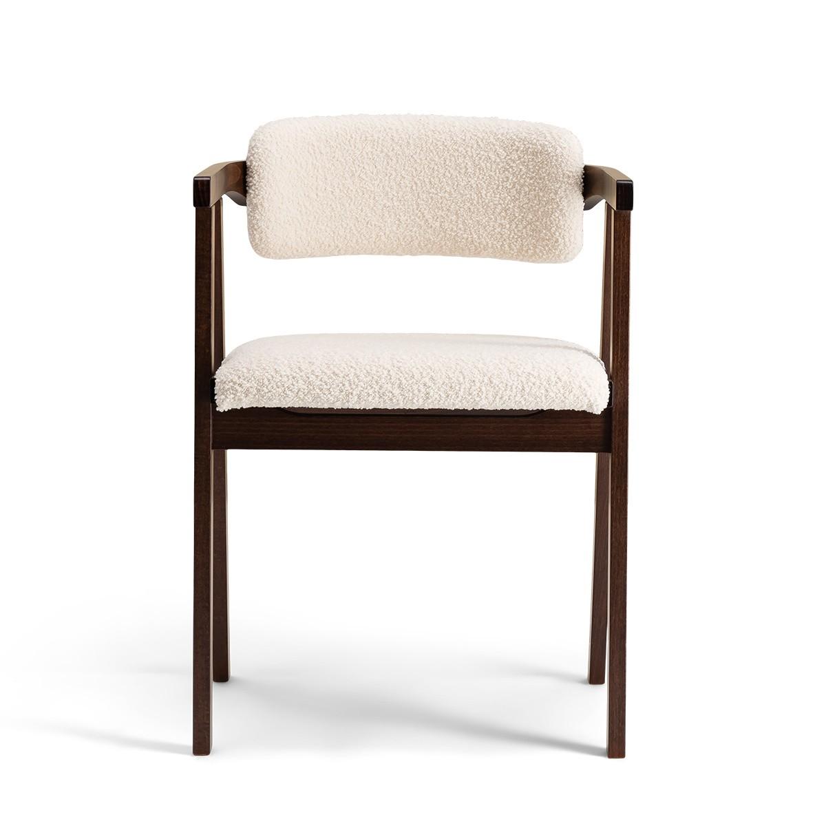 Chaise Milano bois brun laine bouclette blanc crème