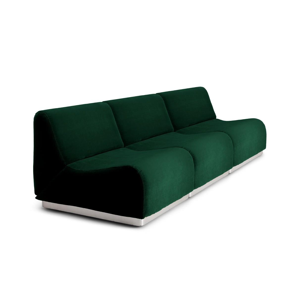 Canapé modulable Rotondo velours vert sapin