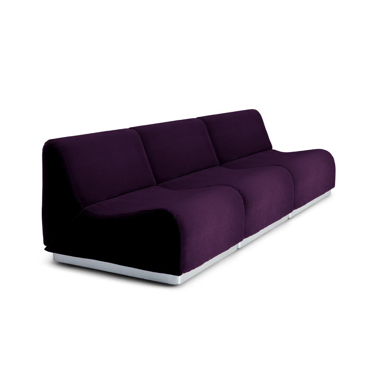 Canapé modulable Rotondo velours prune