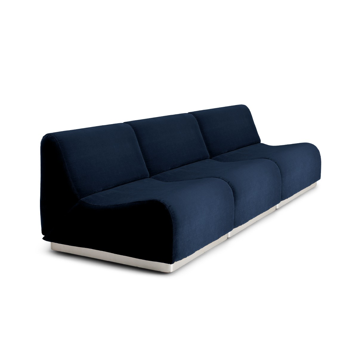 Canapé modulable Rotondo velours bleu nuit