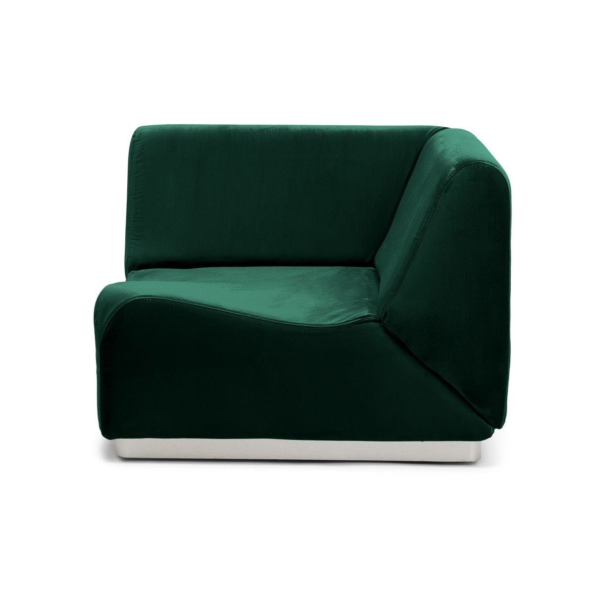 Module d'angle Rotondo velours vert sapin