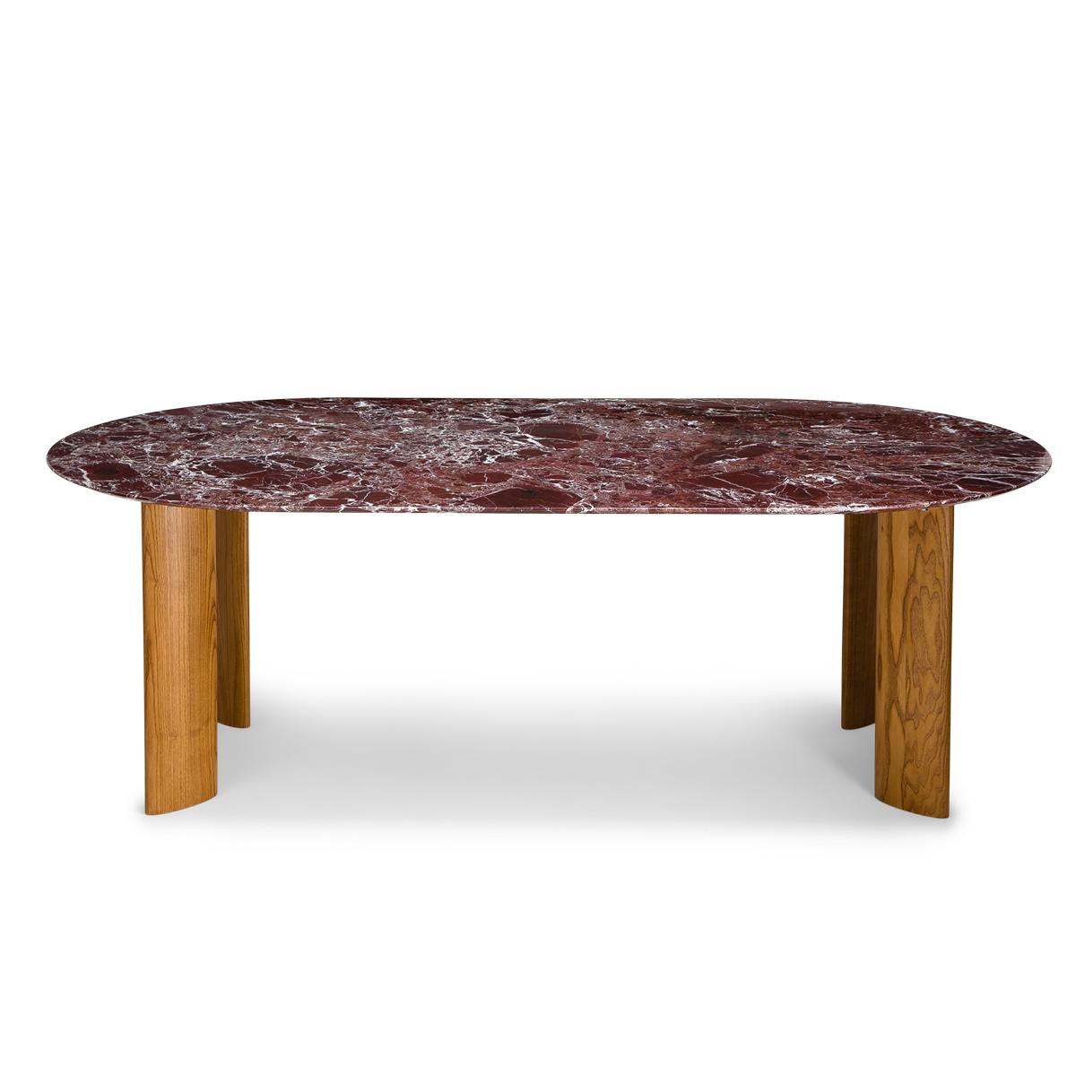Table de salle à manger Carlotta Alta marbre rouge et pieds frêne finition iroko - 8 places