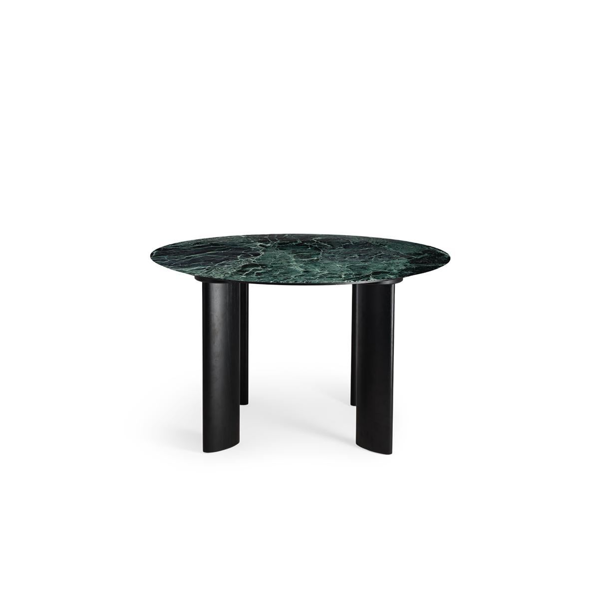 Table de salle à manger Carlotta Alta marbre vert et pieds noirs - 4 places