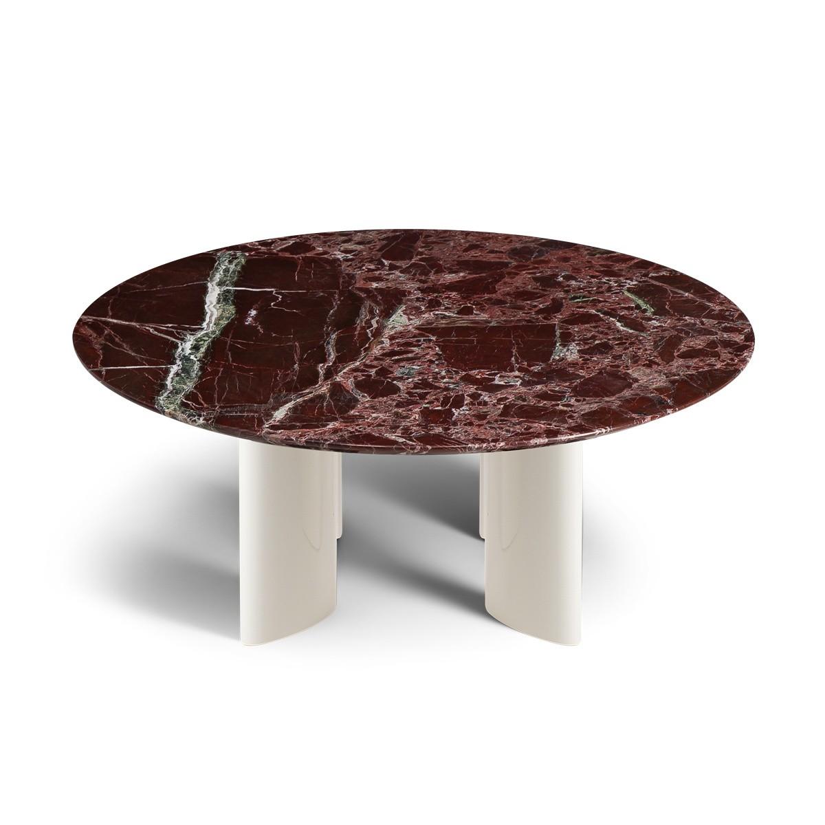 Table basse Carlotta pieds laqués blanc crème et marbre rouge