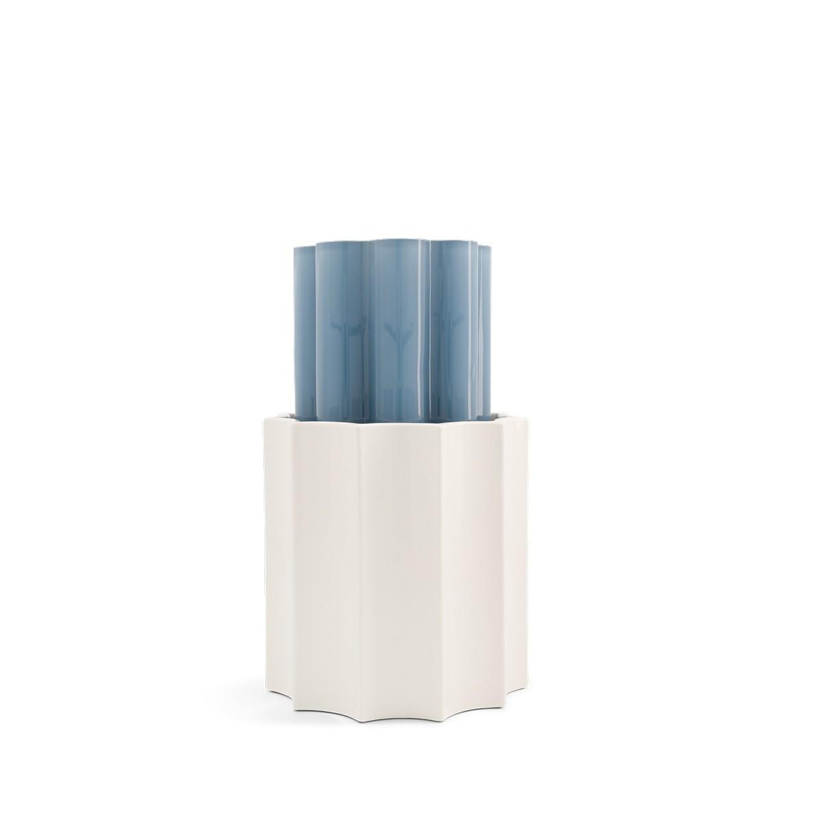 Vase Duetto bleu orage et blanc