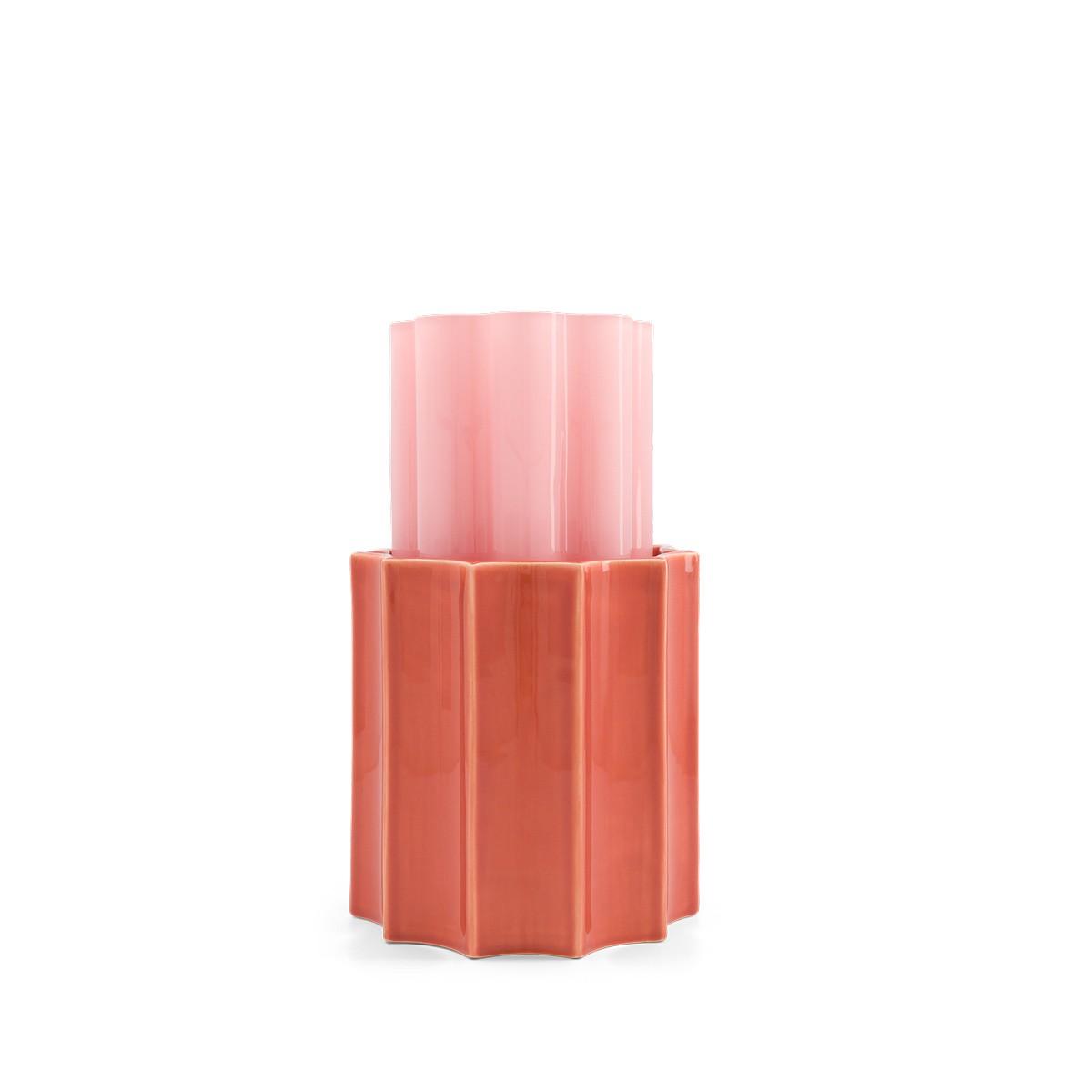 Vase Duetto rose bonbon et terracotta