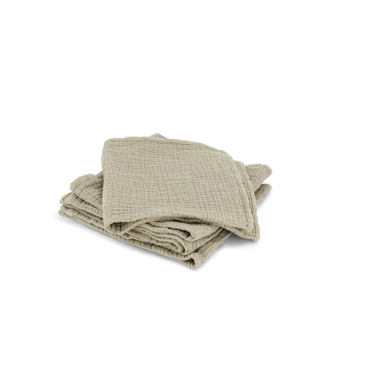 Set de 4 serviettes Allegra en gaze de coton vert d'eau