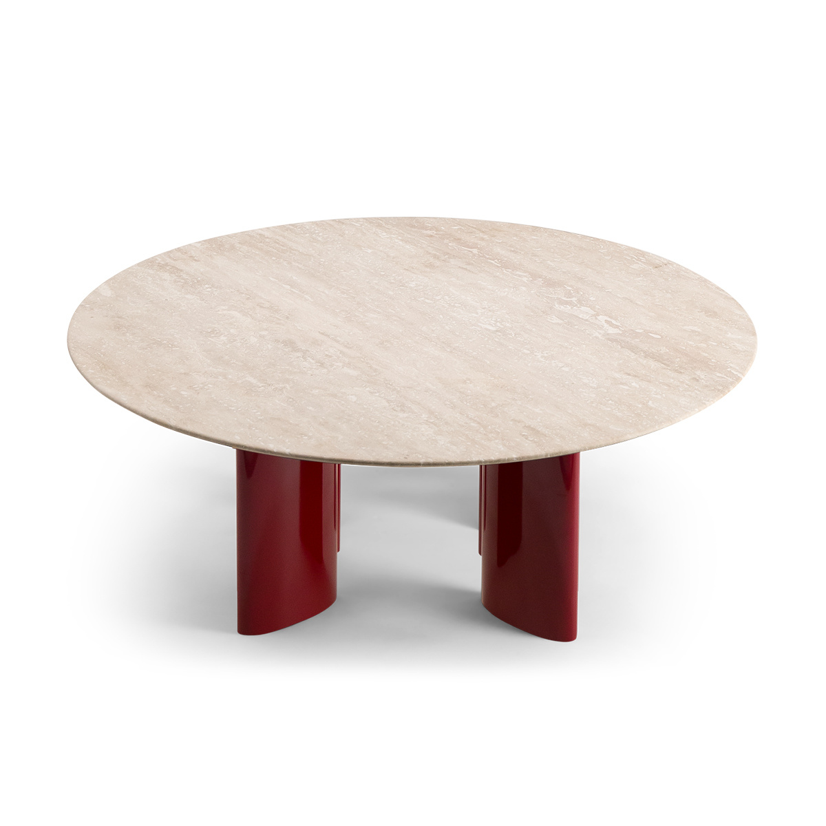 Table basse Carlotta pieds laques rouge et travertin