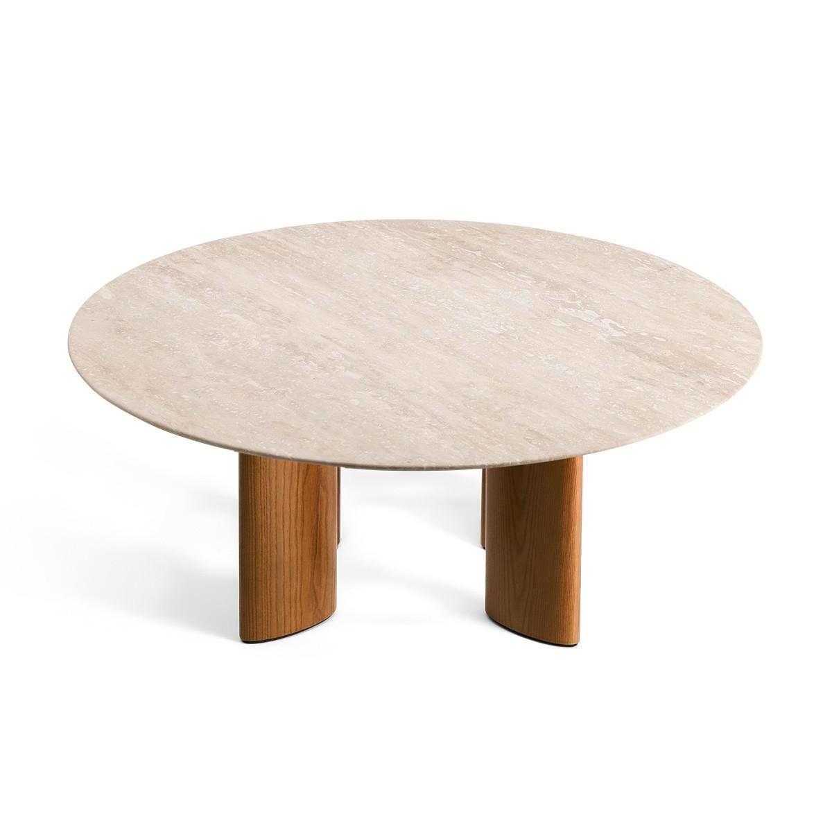 Table basse Carlotta pieds frêne finition iroko et travertin